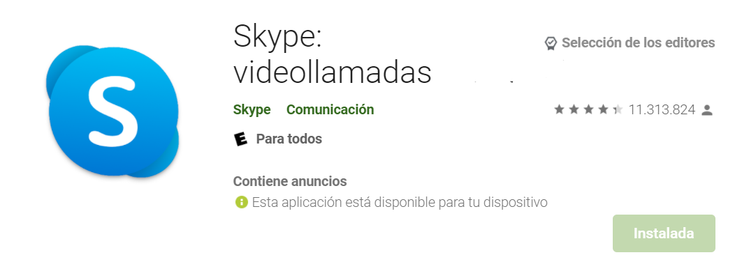 Skype Fuente: Google Play Store